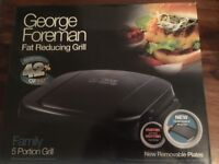 Brand New George Foreman 20840 Five Portion Family Grill With Removable Plates - Black