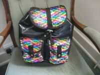 Smiggle Backpack Sparkle Black with Reversible Rainbow Sequin