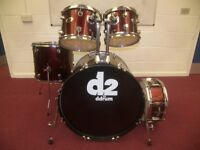 DRUMS: USED DDrum D2 5-piece Drum Set , Shell Kit with 4 x Remo Pinstripe Drum Heads / Red Metallic.
