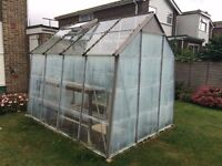 Greenhouse - Cold Frame Aluminium Greenhouse with sliding door, roof window and bench