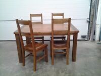 New Bargain Set 4 High Back Solid Wood Dining Chairs Boxed And FREE Table