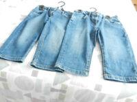 2 M & S Girl's 3/4 Denim Shorts