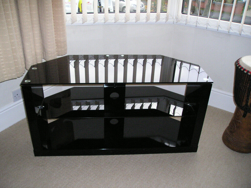 TV stand -black with glass top & shelf.