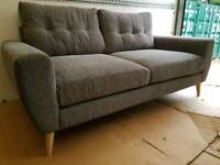NEW Grey Modern Scandinavian Style 2 Seater Sofa DELIVERY AVAILABLE