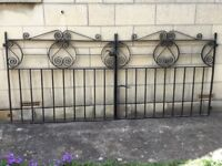 Wrought iron gates for driveway. Decorative design. 1960's