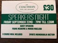 McAvennie / Murdo MacLeod speakers night x 2