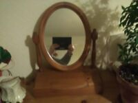 Wooden Oval Mirror with cabinet