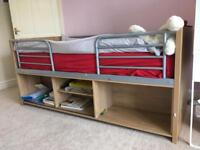 Single high bed with mattress