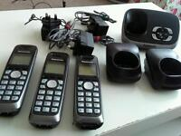 Panasonic cordless phones system with 3 handsets £25