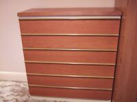 6 drawer chest of drawers with teak finish - charity sale, can deliver