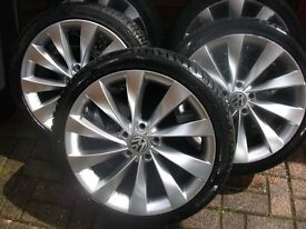 "5x18"" Genuine Vw alloys wheels with brand new tires"
