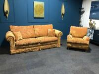 Duresta Dorchester suite Red and Gold velvet fabric 3 seater sofa and armchair