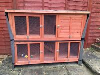 Large 5ft Double Rabbit Hutch With Cover, 3Months Old.