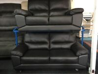 NEW/EX DISPLAY ScS BLACK/BROWN LEATHER VIXION 3 + 2 SEATER SOFAS 70% Off RRP