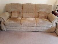 Sofa, 3 seater, 2 seater and pouffee. Yellow-Gold colour. Good condition.