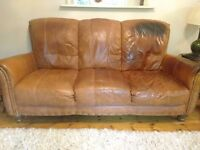 Leather Chunky Three Seater Settee