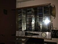 vintage / retro cocktail cabinet / drinks cabinet - glass, mirror, wood frame