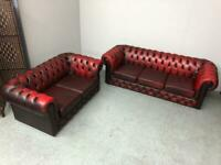 STUNNING CHESTERFIELD 3 + 2 SEATER CLUB SOFAS IN AN OXBLOOD LEATHER