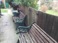 Cast iron garden table & 2 x benches