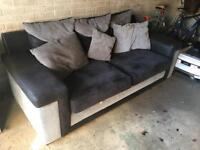 Black and Grey (SCS) Fabric/Suede Sofa & Swivel Chair