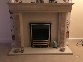 Nearly new marble Gas fire place and Hearth