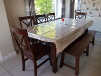 Solid wood dining table, 5 chairs & bench