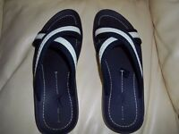 AUTHENTIC LOUIS VUITTON MENS FLIP FLOPS SANDLES EMBROIDERED SIZE UK 9 EU 43
