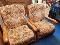 Vintage Heavy Oak Framed Armchair