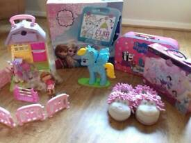 Girls bundle toys. ELC, Peppa pig, Elsa easel,next slippers etc