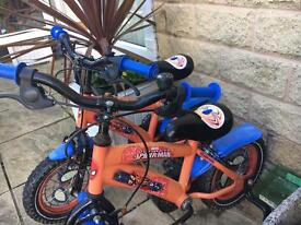 Kids bikes 12 inch would probably suit 3-4 years