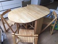 John Lewis Wooden Dropleaf Dining Table and Four Chairs