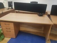 4 Light Nutmeg office wave desks/tables/computer table w/modesty panel wood finish and divider