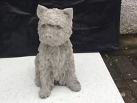 Concrete garden westie dog ornament