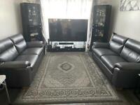 Brand new grey leather 3 seta sofa from DFS