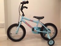 Halfords Trax T14 Girls Bike (age 4-6) with stabilisers and bell