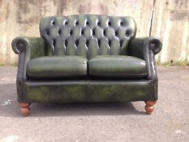 Green leather Thomas Lloyd Chesterfield two seater sofa / settee in great condition