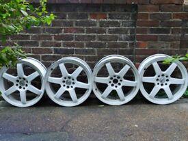White aluminium alloy rim set (4 pcs 18 inch x 7.5J 4x100) for sale
