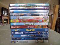 Assorted children's DVDs - Ice Age, Shrek, Monsters Inc, etc.