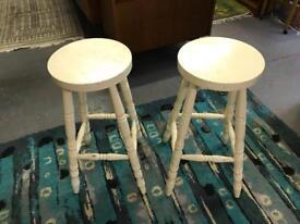 Vintage tall retro stool wooden