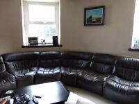 Dark Brown Leather Corner Sofa - 6 Seater Fully Modular (DFS)
