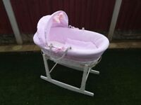 Baby girl moses basket and stand