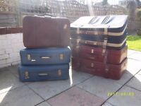 Vintage suitcases x 7 in clean, good condition, all zips working