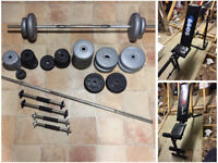 Weights Set 101.5kg. Bench press, Flat Bench, Barbell x 2, Dumbbells x 4. Exercise, Bodybuilding