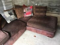 Large corner sofa brown seat cushions with scatter cushions