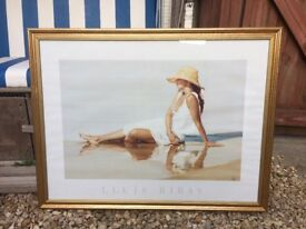 Golden Painting Frame (H: 600 mm x W: 800 mm) - very good condition incl. print from Lluis Ribas
