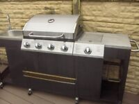large gas barbuecue kitchen with sink and ring prep area never used