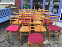 Fine Set of 5 Vintage 1950's Bentwood Church Chairs - Kitchen Dining Chair