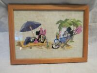 Framed Cross-stitch of Mickey and Minnie Mouse