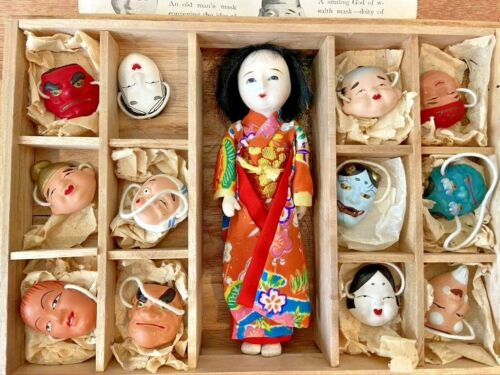VTG RARE Japanese Japan Noh Plays Kyo-Gen Plays 12 Clay Face Masks and Doll