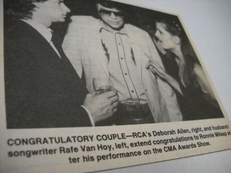 RONNIE MILSAP w/ Deborah Allen & Rafe Van Hoy 1983 music biz promo pic/text